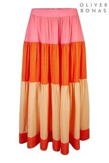 חצאית מידי של Oliver Bonas דגם Colourblock בוורוד