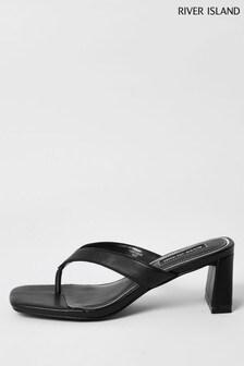 River Island Black Toe Post Block Heel Sandals