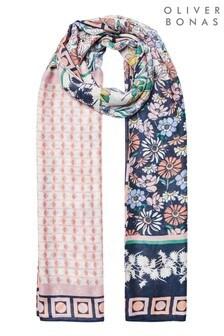 Oliver Bonas粉色京都風格有型印花混搭輕便圍巾
