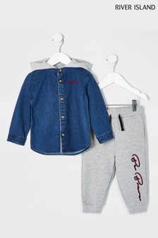 River Island Blue Hybrid Denim Jogger Set