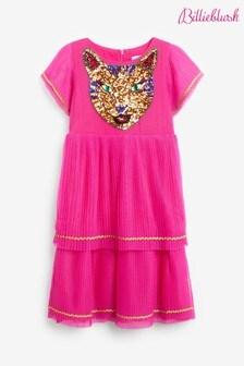 Billieblush Pink Cat Sequin Pleated Dress