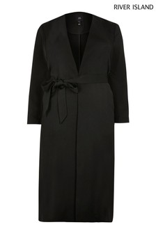 River Island Plus Black Belted Duster Coat