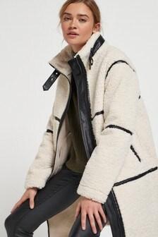 Teddy Faux Leather Trim Detail Coat