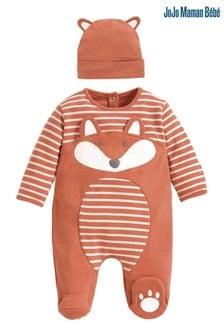 JoJo Maman Bébé Orange Fox Sleepsuit & Hat Set