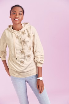 Weihnachtliches Kapuzensweatshirt mit Schneeflockenmotiv