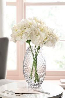 Grey Twisted Smoke Glass Vase