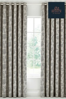 Bedeck of Belfast Canna Botanical Floral Jacquard Cotton Lined Eyelet Curtains
