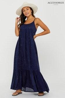 Accessorize Blue Sequin Maxi Dress