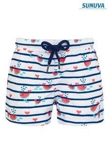 מכנסי שחייה בהדפס ליוויתנים ואבטיחים בכחול כהה שלSunuva