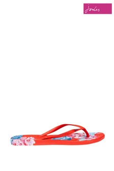 Joules Red Printed Flip Flops