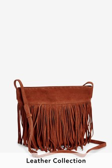 Suede Fringe Detail Across-Body Bag