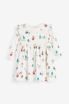 Christmas Print Jersey Dress (0mths-2yrs)