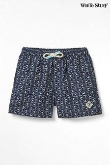 White Stuff Blue Kids Mini Lagoon Print Swim Shorts
