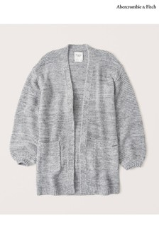 Abercrombie & Fitch Oatmeal Puffed Sleeve Cardigan