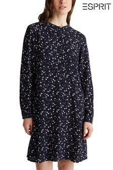 Esprit Blue Stretch All Over Printed Dress With Long Sleeves