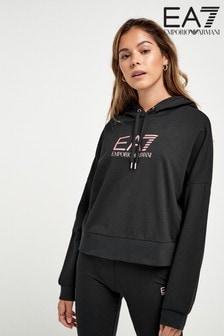 Emporio Armani EA7 Logo Hooded Cropped Hoody