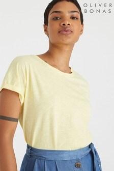 Oliver BonasT-Shirt mitDruckknopfleiste am Rücken, Gelb