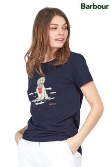 חולצת טי שלBarbour® דגםCoastal Beach עם הדפס כלב ולוגו
