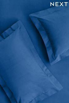 Set of 2 Blue Easy Care Polycotton Pillowcases