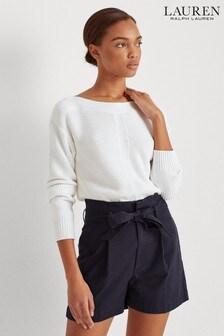 סוודר שלLauren Ralph Lauren® דגםAvanyssבלבן