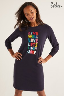 Boden Navy Rib Cuff Sweatshirt Dress