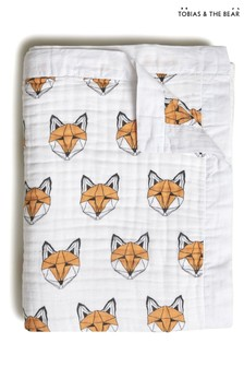 Tobias & The Bear White Just Call Me Fox Organic Cotton Quilt