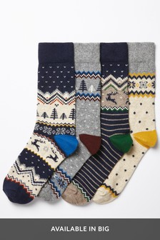 Classic Fairisle Pattern Wool Mix Socks Four Pack