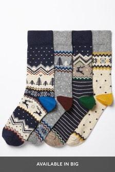 Set van vier paar wollen klassieke sokken met fairislemotief
