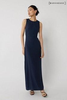 Синее приталенное платье макси для подружки невесты Warehouse