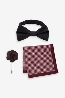 Bow Tie, Pocket Square And Lapel Pin Set