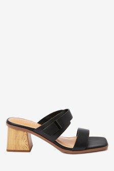 Two Band Block Heel Mules