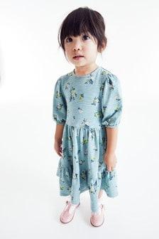 Платье каскадного кроя в мелкий цветочек (3 мес.-7 лет)