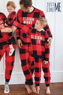 Matching Family Kids Christmas Slogan Check Pyjamas (0mths-16yrs)