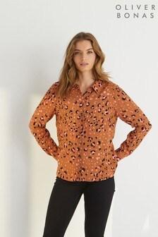 Chemise à manches longues et imprimé léopard Oliver Bonas marron