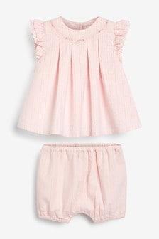 Bestickte Bluse und Shorts, Set (0Monate bis 2Jahre)