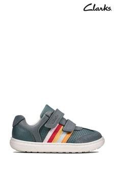 Clarks Blue Flash Beau Velcro T Shoes