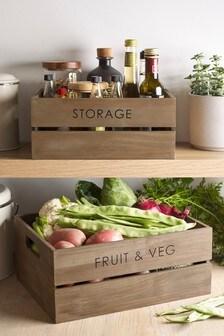 Set of 2 Wooden Vegetable Baskets