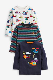 3 Pack Appliqué Helicopter T-Shirts (3mths-7yrs)
