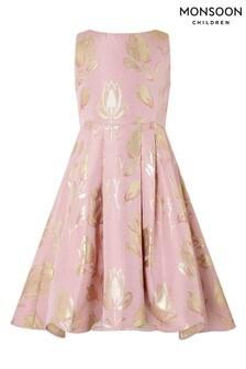 Monsoon Pink Tulip Jacquard Dress