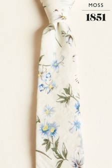 Moss London White With Cream Large Floral Print Cotton Tie