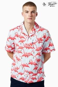 Chemise Original Penguin® Flamingo Resort bleue/rouge