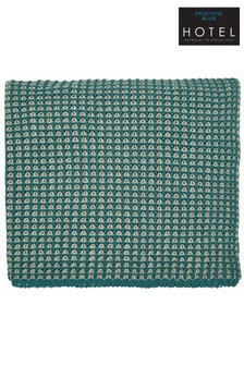 Peacock Blue Trisara Knitted Cotton Throw