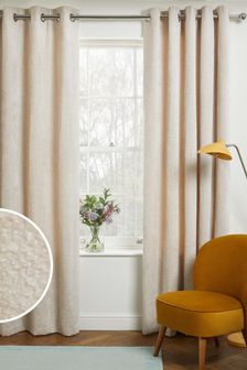 Natural Cosy Chenille Eyelet Lined Curtains