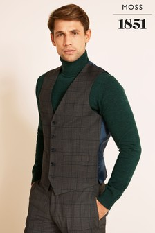 Moss 1851 Tailored Fit Grey With Blue Windowpane Check Supreme Stretch Waistcoat