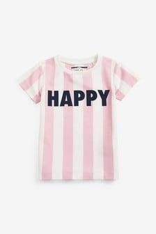 Tričko s krátkymi rukávmi s nápisom Happy (3 mes. – 7 rok.)