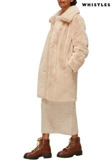 Whistles Neutral Faux Fur Coat