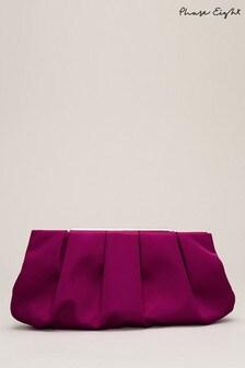 Phase Eight Purple Sonja Soft Satin Clutch Bag