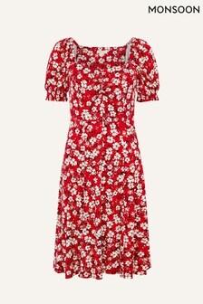 שמלה מג'רזי עם הדפס פרחוני של Monsoon דגם Everly באדום