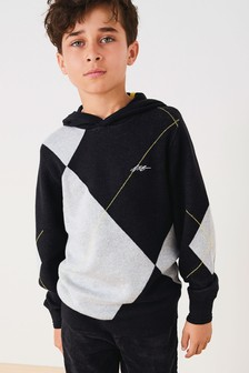 Argyle Pattern Knitted Hoody (3-16yrs)