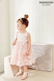 Monsoon嬰兒裝Naya玫瑰形裝飾蕾絲連衣裙